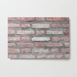 Blush Pink Brick Wall Metal Print