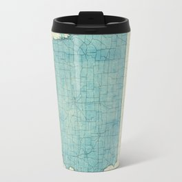 Iowa State Map Blue Vintage Travel Mug