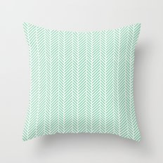 Herringbone Mint Inverse Throw Pillow