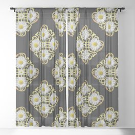 LACEY WHITE DAISIES ABSTRACT BLACK ART Sheer Curtain