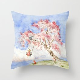 Girl on a Sakura Tree Swing with Cats Throw Pillow