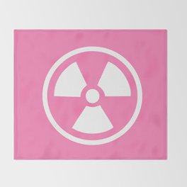 Pink Radioactive Symbol Throw Blanket