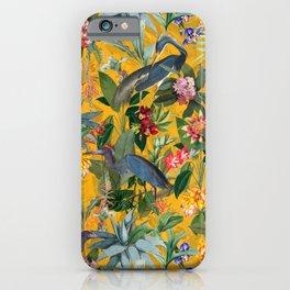 Vintage & Shabby Chic - Sunny Tropical Garden Blue Heron iPhone Case