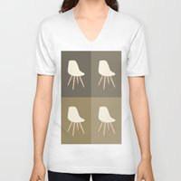 eames V-neck T-shirts featuring Eames x 4 #4 by bittersweat