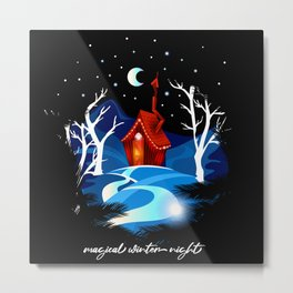 Fairy-tale house in the winter forest. Metal Print
