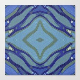 Blue Wave Nautical Medallion Canvas Print