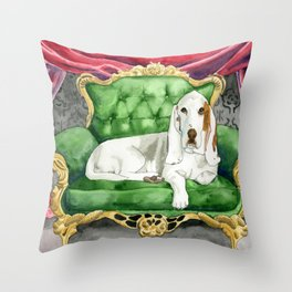 Royal Basset Hound Throw Pillow