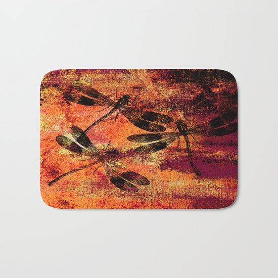 Black Dragonflies Bath Mat