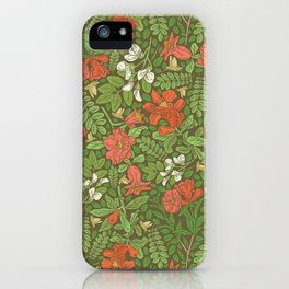 Pomegranate flowers with grasshoppers on green background iPhone Case
