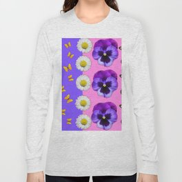 PINK-LILAC & PURPLE PANSY DAISY SPRING FLOWERS Long Sleeve T-shirt