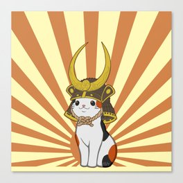 Japanese Bobtail Cat Wears Samurai Hat Canvas Print