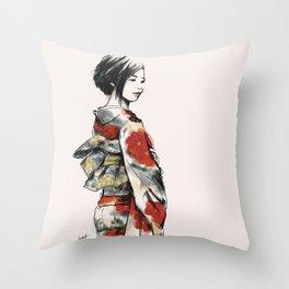 赤い花の着物 Throw Pillow