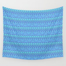 Aztec duo color blue pattern Wall Tapestry