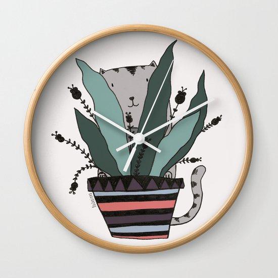 cats love plants print Wall Clock
