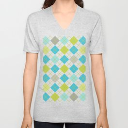 Retro 1980s Argyle Geometric Pattern in Modern Bright Colors Blue Green and Gray Unisex V-Neck
