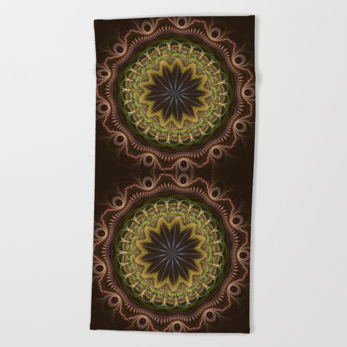 Groovy fractal mandala with tribal patterns Beach Towel