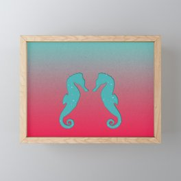 Aqua seahorses Framed Mini Art Print