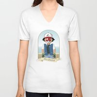 pokeball V-neck T-shirts featuring The Son of Pokeball by I.Nova