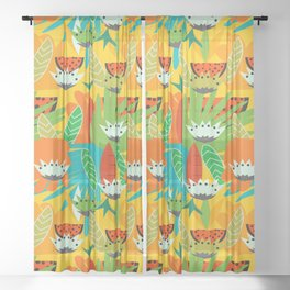 Watermelons and carrots Sheer Curtain
