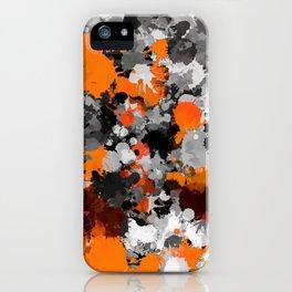 Orange and Grey Paint Splatter iPhone Case