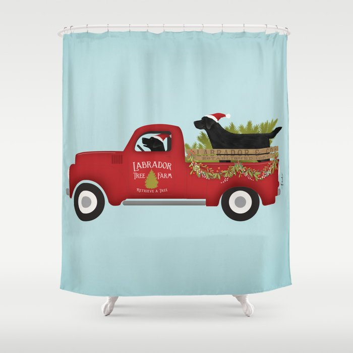 Black lab dog labrador christmas tree farm vintage red truck Shower Curtain