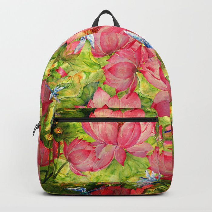 Floral Lotus Flowers Pattern with Dragonfly Backpack