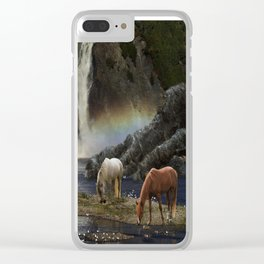 Waterfall Fantasy Herd Clear iPhone Case