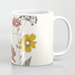 Colorful Thoughts Minimal Line Art Woman with Flowers III Coffee Mug