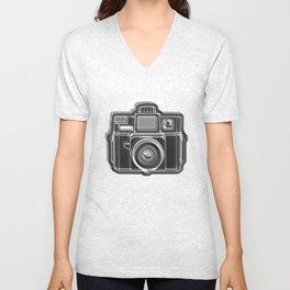 I Still Shoot Film Holga Logo - Black and White Unisex V-Neck