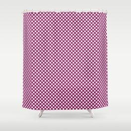 Festival Fuchsia and White Polka Dots Shower Curtain