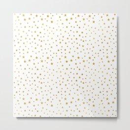 Gold Star Sprinkle on White Metal Print
