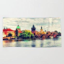 Prague panorama watercolor Beach Towel