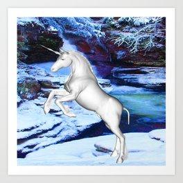 Unicorn in the Snow Art Print