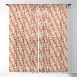 Hot Dog Pattern Sheer Curtain