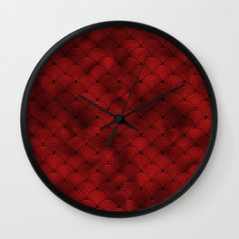 Ringed Scales in Black and Ruby Red Vintage Faux Foil Art Deco Vintage Foil Pattern Wall Clock