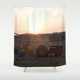 Tractor Sunset Shower Curtain