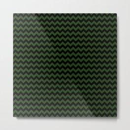 Dark Forest Green and Black Chevron Stripe Pattern Metal Print
