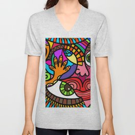 Fun Modern Abstract Face Cartoon Unisex V-Neck