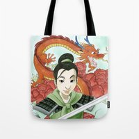 mulan Tote Bags featuring Mulan by Aimee Steinberger