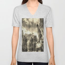 Scots American Memorial And Edinburgh Castle Vintage Unisex V-Neck