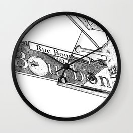Sign of Bourbon Street  Wall Clock