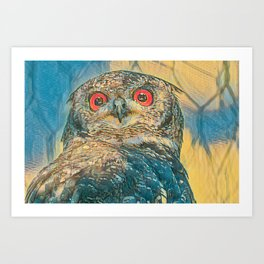 abstract real owl with red eyes Art Print