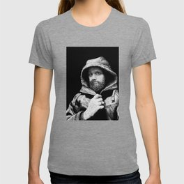 A Bearded Man in a Hoodie Stares With Intensity T-shirt