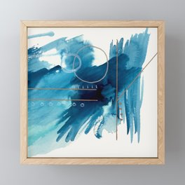 Beneath the Waves Series 2 - a blue and gold abstract mixed media set Framed Mini Art Print