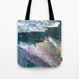 Karma [1]: a vibrant, abstract mixed-media piece in pink, peach, white and teal Tote Bag