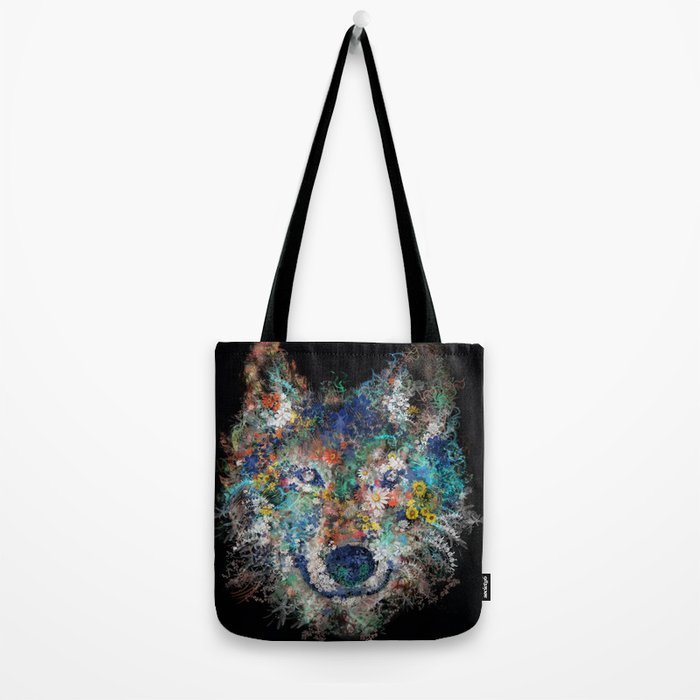 floral animals wolf 2 Tote Bag
