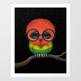 Baby Owl with Glasses and Bolivian Flag Art Print