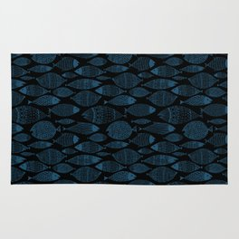 Blue Fish Black Rug