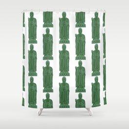 Zen:  Kelly Green + Mint Buddha Shower Curtain