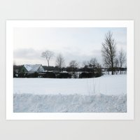denmark Art Prints featuring Snow Denmark by Precious Art Print